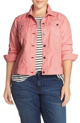 Sejour Plus Size Women's Twill Trucker Jacket Pink Bride