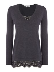 Gray And Willow Swada Sequin Lace Detail Knit Dark Grey Marl