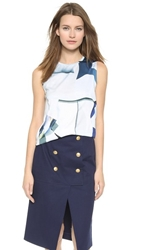 Kenzo Sleeveless Paper Printed Top Deep Sea Blue
