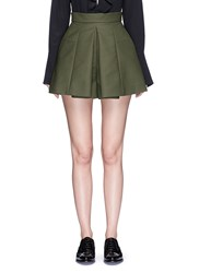 Alexander Mcqueen Box Pleated Double Cotton Shorts Green