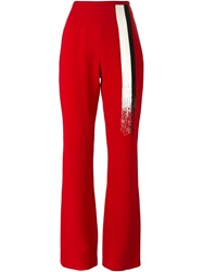 Jean Louis Scherrer Vintage Embellished Bootcut Trousers Red