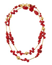 Jose And Maria Barrera Golden Coral Bead Necklace Women's