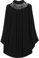 Saint Laurent Cape Back Embellished Stretch Jersey Mini Dress Black