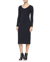 Nicole Miller Artelier Long Sleeve Fitted Striped Dress Large