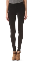 Plush Stitched Fleece Lined Leggings Black
