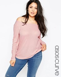 Asos Curve Top With Off Shoulder Detail In Slouchy Fabric Nude Pink