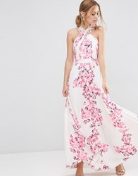 Asos Cross Over Floral Pleated Maxi Dress Multi