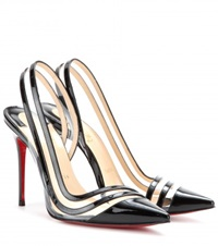 Christian Louboutin Paralili 100 Patent Leather Sling Back Pumps Black