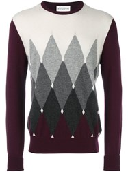 Ballantyne Contrast Diamond Print Jumper Red