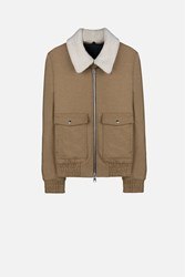 Ami Alexandre Mattiussi Shearling Collar Zipped Jacket Brown