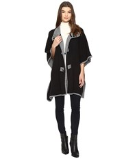 Christin Michaels Armelle Poncho With Buttons Black Charcoal Women's Clothing