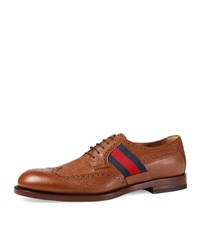 Gucci Strand Leather Brogue Lace Up Shoe W Web Detail Brown