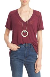 Free People Women's 'Pearls' Raw Edge V Neck Tee Purple