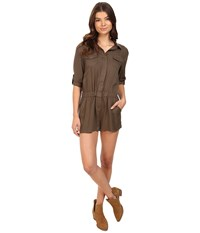 Brigitte Bailey Lei Long Sleeve Button Up Romper Olive Women's Jumpsuit And Rompers One Piece