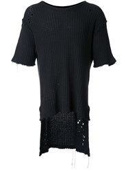 Miharayasuhiro Distressed Knit T Shirt Black