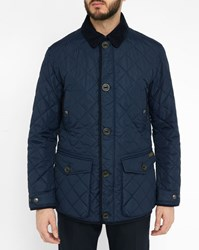 Polo Ralph Lauren Navy Quilted Jacket With Corduroy Collar Blue