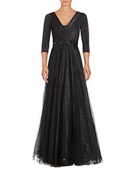 Teri Jon Metallic Flowing Gown Black