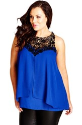 Plus Size Women's City Chic 'Layered Motif' Lace Detail Tiered Chiffon Top French Blue
