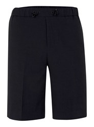 Topman Navy Seersucker Textured Long Length Smart Shorts Black