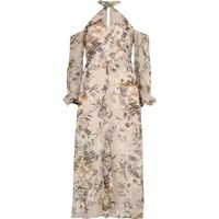 River Island Womens Cream Print Cold Shoulder Maxi Dress
