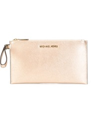 Michael Michael Kors 'Bedford' Metallic Clutch Nude And Neutrals