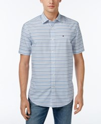 Tommy Hilfiger Men's Cecil Striped Short Sleeve Shirt Blue Island
