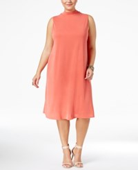 Ing Trendy Plus Size Lace Up Shift Dress Coral