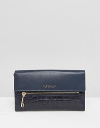 Modalu Leather Continental Wallet Ink Navy Croc