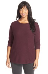 Sejour Cashmere Shirttail Hem Sweater Plus Size Burgundy Stem