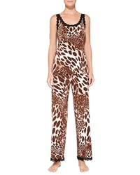 Josie Natori Lace Trimmed Animal Print Camisole Natural Brown