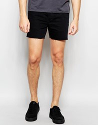 Religion Short Denim Shorts Black Over Dyed
