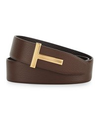 Tom Ford Reversible Grained Leather Logo Belt Black Brown