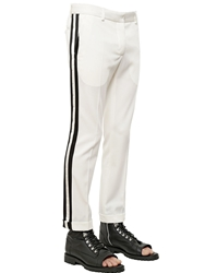 Balmain Wool Gabardine Pants With Satin Bands White