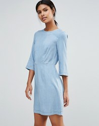 Warehouse Denim Fitted Dress Light Wash Blue