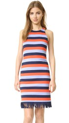 Tory Burch Ariana Dress Red Canyon Colorblock