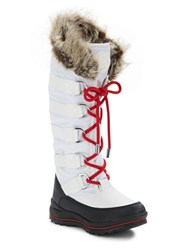 Guess Hadly Faux Fur Trimmed Lace Up Boots White