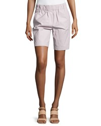 Halston Heritage Smocked Waist Lambskin Leather Shorts Freesia