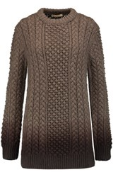 Michael Kors Collection Ombre Cable Knit Merino Woolsweater Chocolate