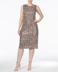 Calvin Klein Plus Size Lace Ruched Sheath Dress Med Brown
