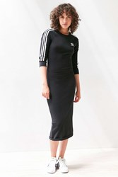 Adidas Originals 3 Stripe Bodycon Midi Dress Black