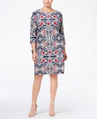 Charter Club Plus Size Paisley Print Shift Dress Only At Macy's Deepest Navy Combo