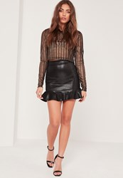 Missguided Black Frill Hem Foil Mesh Mini Skirt Silver