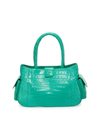 Nancy Gonzalez Small Crocodile Satchel Bag Turquoise