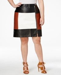 Inc International Concepts Plus Size Faux Leather Colorblocked Skirt Only At Macy's Rawhide White