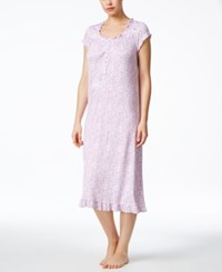 Eileen West Ruffle Trim Nightgown Lilac Print