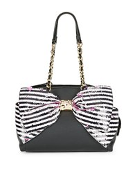 Betsey Johnson Bow Accented Faux Leather Satchel Black