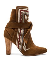 Ulla Johnson Embroidered Suede Aggie Booties In Brown