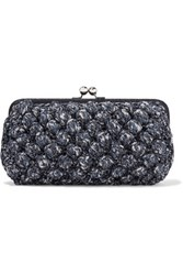 M Missoni Metallic Textured Crochet Knit Clutch Multi