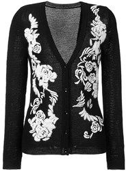 Ermanno Scervino Rose Embroidered Cardigan Black