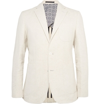 Hardy Amies Cream Slim Fit Stretch Linen And Cotton Blend Blazer White